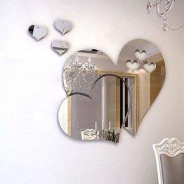2 Herzen Spiegel Wandaufkleber 3D Liebe Kunst Wandtattoos Wohnzimmer Badezimmer Dekor