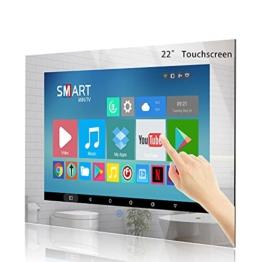 22-Zoll Touchscreen Badezimmer Fernseher IP 66 Wasserdichter TV Spiegel mit Smart Fernseher Wi-Fi Bluetooth USB 2021