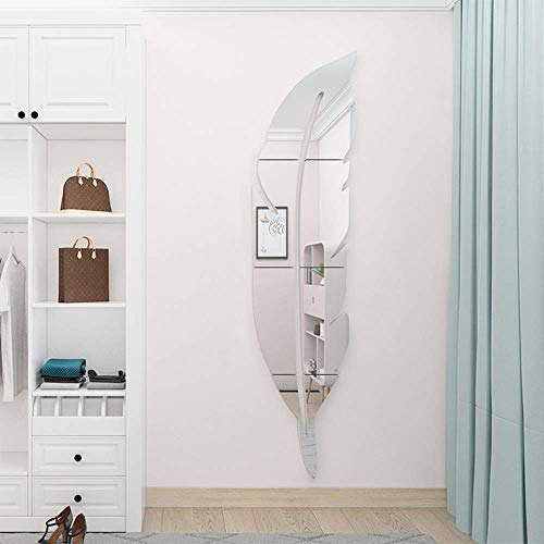 3D Feder Spiegel Wand Dekor Aufkleber Federform Vodelfeder Dekorationen für Wohnzimmer, Schlafzimmer, Badezimmer