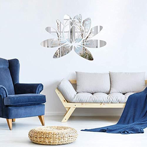 3D Lotus Blume Acryl Spiegel Wandaufkleber Aufkleber Wandtattoos für Schlafzimmer Wohnzimmer Badezimmer Deko -