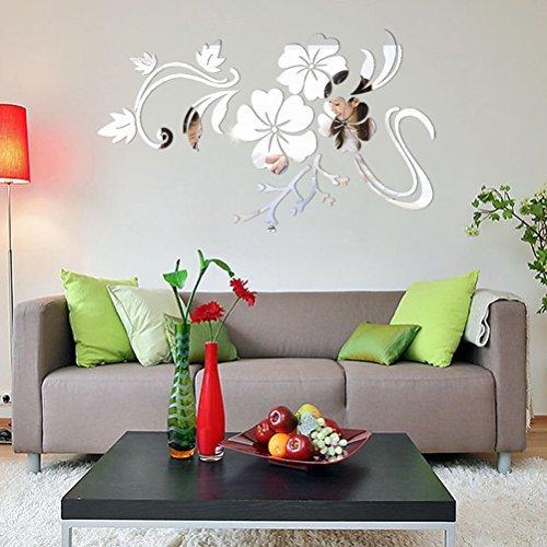 3D Spiegel Aufkleber Blumen Spiegel Wandtattoos Schlafzimmer Wohnzimmer Badezimmer Dekoration Silber -