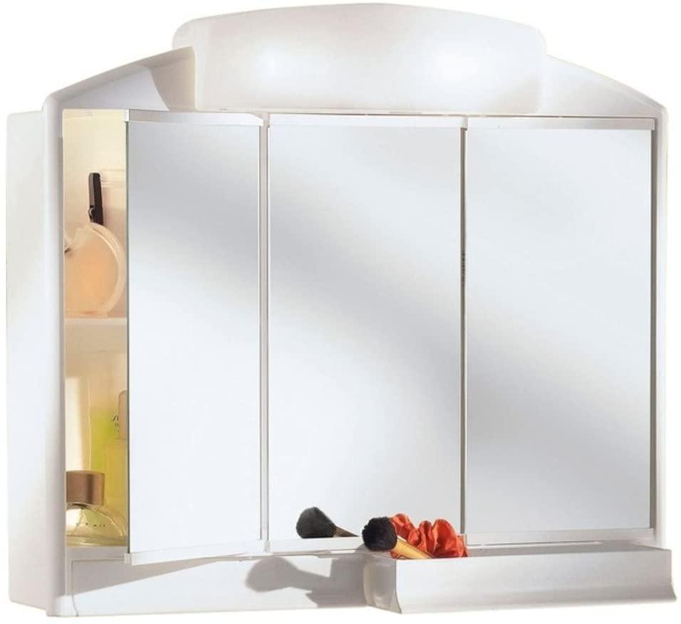 Bad Spiegelschrank mit Licht Beleuchtung 59cm breit weiss