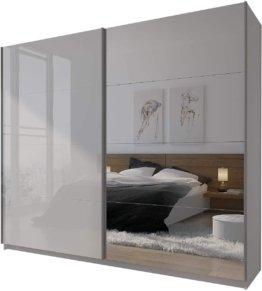 Großer Spiegel Kleiderschrank 244 cm Schwebetürenschrank Schrank Weiß Hochglanz Spiegelschrank Schlafzimmer