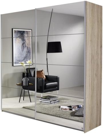 Spiegelschrank Kleiderschrank Schwebetürenschrank in Eiche hell mit Spiegel 2-türig