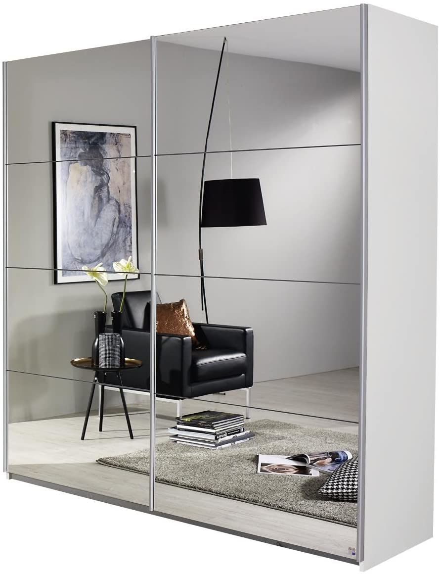 Spiegelschrank Spiegel Kleiderschrank Schwebetürenschrank in Weiß 2-türig inkl. 2 Kleiderstangen 136x197x61 cm