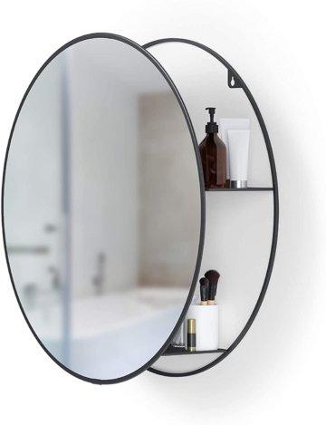 Runder Badezimmerspiegel mit Ablage Schwarz modern Stauraum für kleine Räume