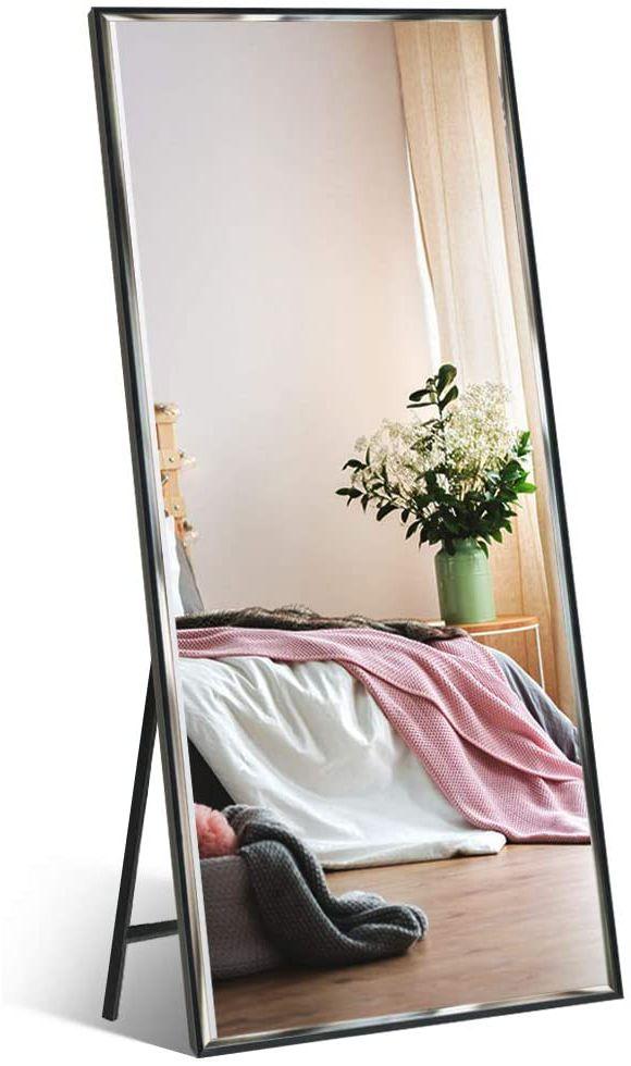 Ankleidespiegel Ganzkörperspiegel mit schwarzem Rahmen und Splitterschutz, großer Wandspiegel Standspiegel