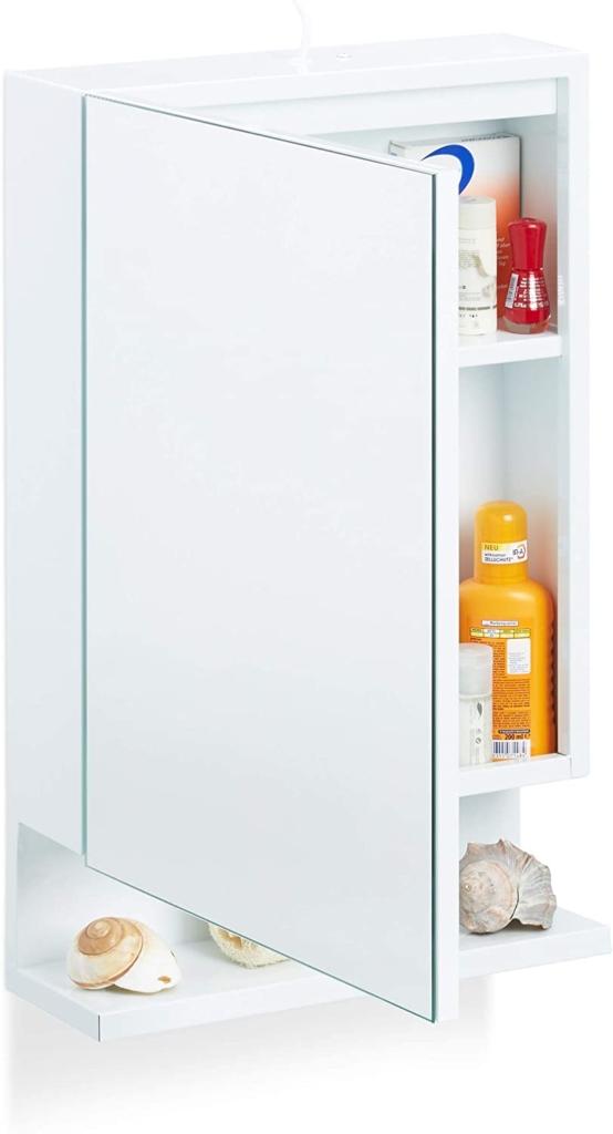 Spiegel Badschrank mit Regale und Ablage Klein Spiegeltür Spiegelschrank Wandschrank