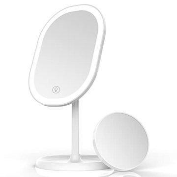Schminkspiegel Tischspiegel Rasierspiegel Beleuchtet LED Licht Vergrößern Spiegel Faltbarer Tischspiegel