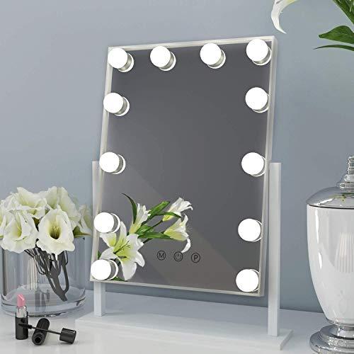 Hollywood Spiegel mit Licht Beleuchteter Kosmetikspiegel LED-Lampen Touch Schminkspiegel Weiß Geschenke für Frauen
