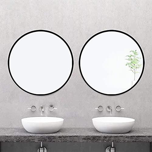 AUFHELLEN Rund Spiegel mit Schwarz Metallrahmen HD Wandspiegel -