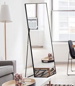 Standspiegel mit Schwarz Metallrahmen 140x40cm Groß Ganzkörperspiegel Wohnzimmer oder Ankleidezimmer Schwarz