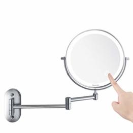 Kosmetikspiegel LED Beleuchtet Vergrößerung Dimmbarer Schminkspiegel mit Touchschalter Rasierspiegel für Badezimmer