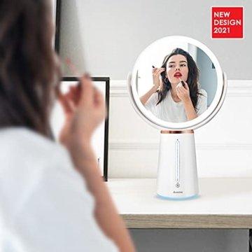 Auxmir Kosmetikspiegel LED Beleuchtet mit 1X/10X Vergrößerung, Doppelseitiger Makeup Schminkspiegel mit 10 Dimmbaren Helligkeiten, Rasierspiegel Wiederaufladbar, 360° Schwenkbar - 2