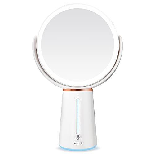 Auxmir Kosmetikspiegel LED Beleuchtet mit 1X/10X Vergrößerung, Doppelseitiger Makeup Schminkspiegel mit 10 Dimmbaren Helligkeiten, Rasierspiegel Wiederaufladbar, 360° Schwenkbar - 1