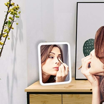 Kosmetikspiegel mit LED Licht Schminkspiegel Tischspiegel Beleuchtet mit Touchschalter Makeup Spiegel