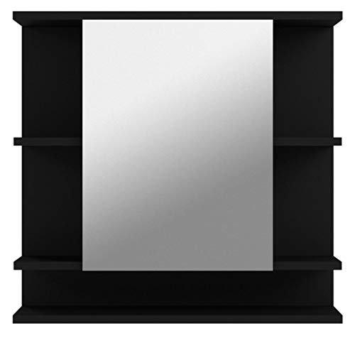 Badezimmer Spiegelschrank Spiegel 72 x 76 x 20 cm Graphit Dunkelgrau Front Weiß mit viel Stauraum -