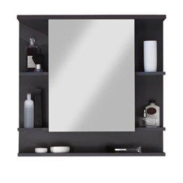 Badezimmer Spiegelschrank Spiegel 72 x 76 x 20 cm Graphit Dunkelgrau Front Weiß mit viel Stauraum