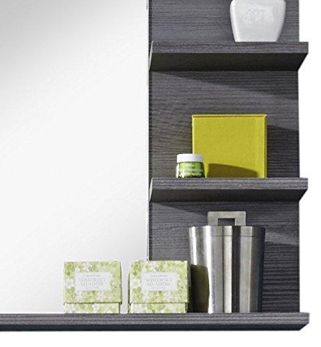 Badezimmer Wandspiegel Spiegel Badezimmerspiegel  72 x 57 x 17 cm in Rauchsilber Dekor mit Ablagefläche -