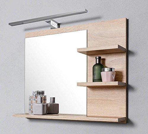 Badspiegel mit Ablagen Badezimmer Spiegel Wandspiegel Badezimmerspiegel Holz Natur Buche -