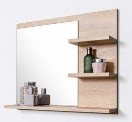 Badspiegel mit Ablagen Badezimmer Spiegel Wandspiegel Badezimmerspiegel Holz Natur Buche