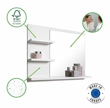 Badspiegel mit Ablagen, Weiß Badezimmer Spiegel, Wandspiegel, Badezimmerspiegel -