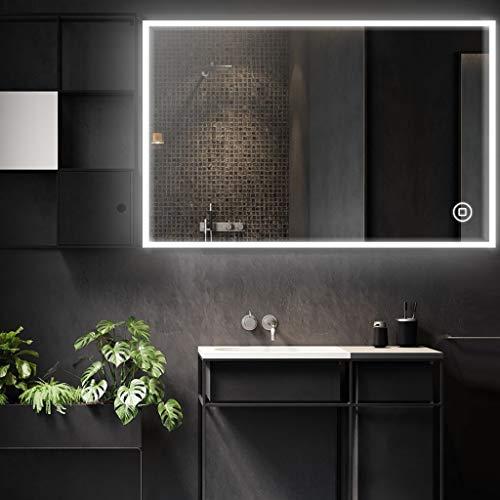 Badspiegel mit Beleuchtung Wandspiegel 80 * 60cm beschlagfrei mit Touchschalter LED Lichtspiegel