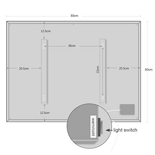 Badspiegel mit LED Beleuchtung Wandspiegel Bad Spiegel Touchschalter Smart Antibeschlag Uhr Wetter Datum Temperatur 80x60CM -