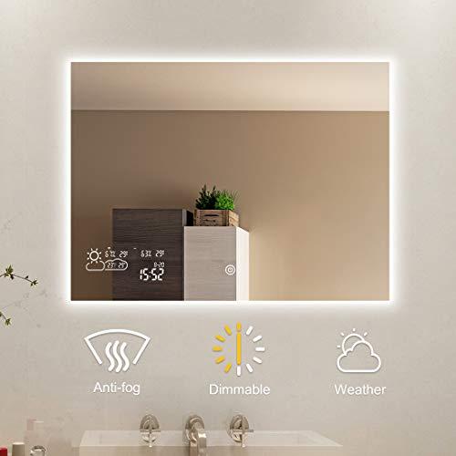 Badspiegel mit LED Beleuchtung Wandspiegel Bad Spiegel Touchschalter Smart Antibeschlag Uhr Wetter Datum Temperatur 80x60CM