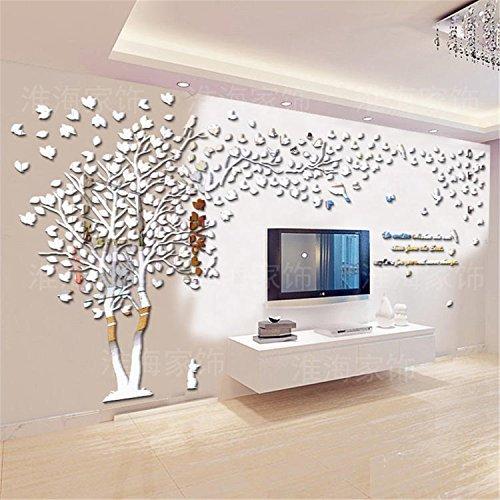 Baum Paar 3D Riesiger Wandtattoos Wandaufkleber Kristall Acryl Malen Wanddeko Wandkunst Silber Spiegel