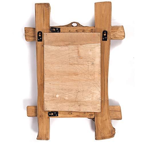 DESIGN WANDSPIEGEL Vintage Teak Recyclingholz, 45x60x5 cm Natur Spiegel mit Treibholz Rahmen -