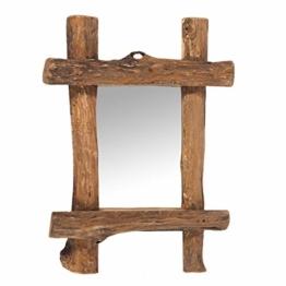 DESIGN WANDSPIEGEL Vintage Teak Recyclingholz, 45x60x5 cm Natur Spiegel mit Treibholz Rahmen