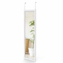 Wandspiegel 33x119cm Spiegel Garderobenspiegel Flurspiegel höhenverstellbarer Hängespiegel mit Haken Weiß