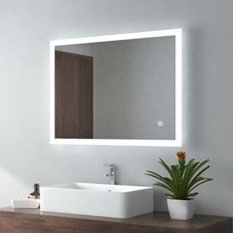 LED Badspiegel 80x60cm Badezimmerspiegel mit Beleuchtung Lichtspiegel Wandspiegel Touch