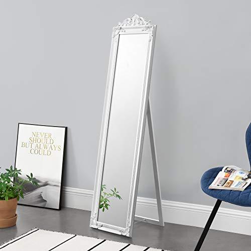 Standspiegel 160x40 cm Ganzkörperspiegel rechteckig Ankleidespiegel kippbar Barock Weiß