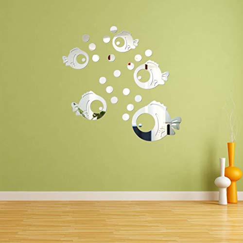 Fische und Blasen Spiegel Wandaufkleber Aufkleber Wandtattoos für Schlafzimmer Wohnzimmer Badezimmer Dekoration -
