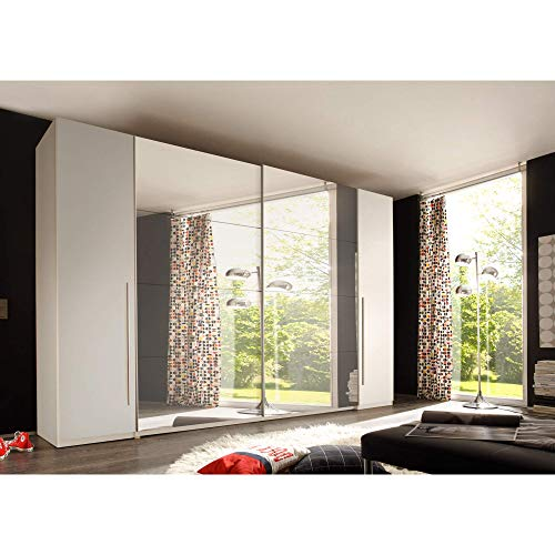 Großer Eleganter Kleiderschrank mit viel Stauraum Schwebetürenschrank in Weiß mit Spiegel 315 x 226 x 60 cm