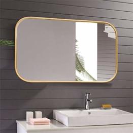 Großer Goldener Designspiegel mit abgerundeten Ecken für Eingang, Flur, Wohnzimmer Luxus Designer Spiegel