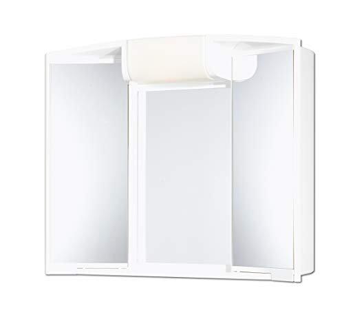 Günstiger Spiegelschrank mit Licht Beleuchtung 59 cm breit weiss Spiegel Badschrank mit Ablage - viel Stauraum