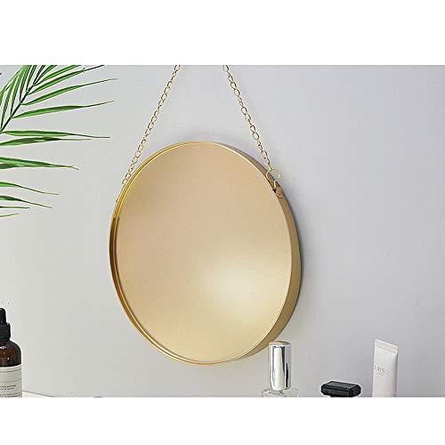 Hängender Spiegel 25 cm runder Badezimmer-Schminkspiegel Messingrahmen mit Kette zum Aufhängen -