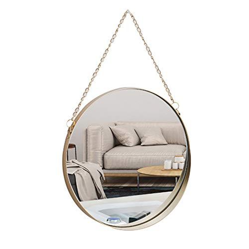 Hängender Spiegel 25 cm runder Badezimmer-Schminkspiegel Messingrahmen mit Kette zum Aufhängen