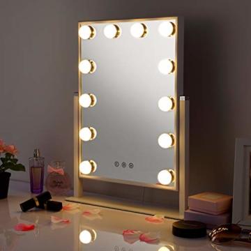 Hollywood Spiegel mit 12 LED-Lichtern Touch-Steuerung Tabletop Hollywood Schminkspiegel Tischspiegel Kosmetikstudio