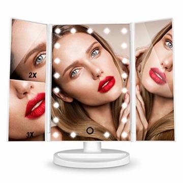 Schminkspiegel, 3 Seiten Kosmetikspiegel Tischspiegel faltbar  180 Grad einstellbar Drehung