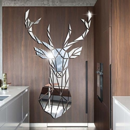 Hirsch 3D Spiegel Wandtattoos Wandbilder Wandaufkleber Aufkleber Spiegel Wohnzimmer Schlafzimmer Wandsticker