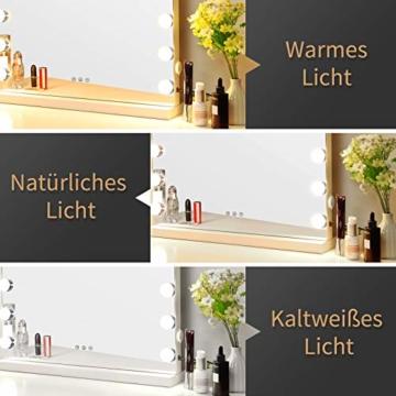 Hollywood Spiegel mit Beleuchtung Dimmbare Glühbirnen Licht Schminkspiegel Hollywood-Stil Weiß -