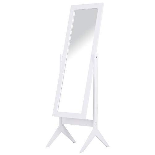Standspiegel Ganzkörperspiegel Schminkspiegel hohe Füße Schlafzimmer Umkleide Weiß 47 x 46 x 148 cm
