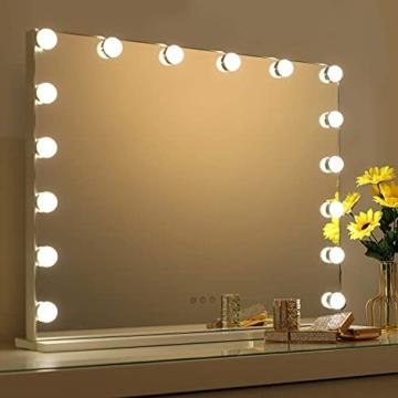 Hollywood Spiegel Schminkspiegel mit Beleuchtung für Schminktisch Makeup Spiegel LED Kosmetikspiegel 70X55 cm Weiß