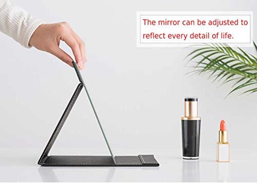 Klappbar Make-up Spiegel Reisespiegel Reise Schminkspiegel Tischspiegel mit Schwarz PU-Leder 17x12cm Klappspiegel -