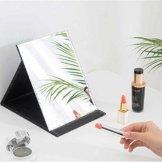 Klappbar Make-up Spiegel Reisespiegel Reise Schminkspiegel Tischspiegel mit Schwarz PU-Leder 17x12cm Klappspiegel