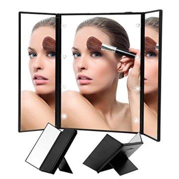 Kosmetikspiegel beleuchteter Schminkspiegel für Make up und Rasur Standspiegel für die Reise oder das Bad